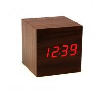 """Часы-будильник-термометр красные цифры """"Деревянный куб"""" 4 цвета корпуса"""