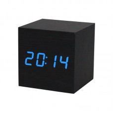 """Часы-будильник-термометр синие цифры """"Деревянный куб"""" 3 цвета корпуса"""