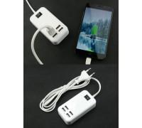 Адаптер на 4 USB ток 3A с сетевым шнуром питания