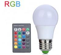 Лампа LED цветная RGB 3 Wt с пультом