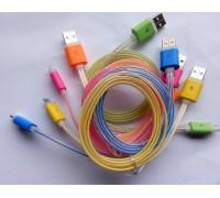 USB-micro USB 1м светящийся плоский 6 цветов