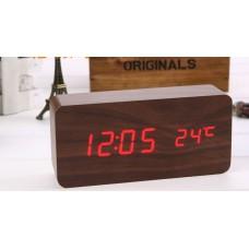 Часы-будильник деревянные, прямоугольная форма