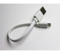 USB-micro USB 15 см плоский белый