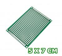 Монтажная плата фольгированная 5x7 см стеклотекстолит