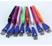 USB-micro USB 1м  плоский  светящийся на штекерах 6 цветов