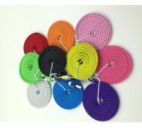 USB-Iphone 5/6 3м плоский тканевая оплетка 10 цветов
