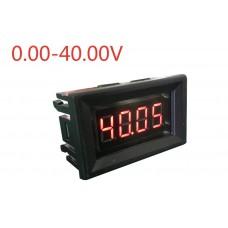 Вольтметр D-SUN DC 0-40 В два знака после запятой (красные цифры)