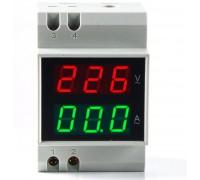 Вольтметр-амперметр D52-2042 AC переменного тока на дин рейку 80-300 В ток 0-100 со встроенным трансформатором тока