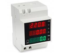 Ваттметр D52-2047 на дин рейку AC 80-300 V,0-100 A с встроенным трансформатором тока