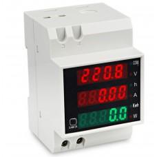 Ваттметр D52-2047 на дин рейку AC 80-300 V,0-100 A с внешним трансформатором тока