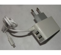 Адаптер на 2 USB+шнур V8 microUSB ток 2,1A