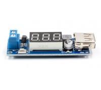 Авто зарядное устройство USB с вольтметром, DC-DC вход 4,5-40 V, выход 5V2A