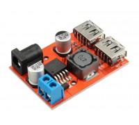 Двойное зарядное устройство USB DC-DC вход 6-40 V, два выхода по  5V3A + гнездо 5,5/2,1