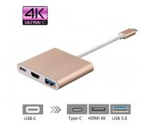 Адаптер 3 в 1 Type-C to HDMI+PD+USB 3.0
