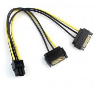 Переходник 6 pin - 2х15 pin для видеокарты