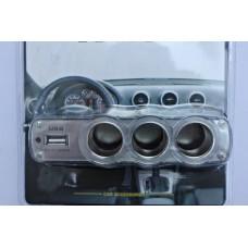 Прикуриватель-3 разъема + USB 0120